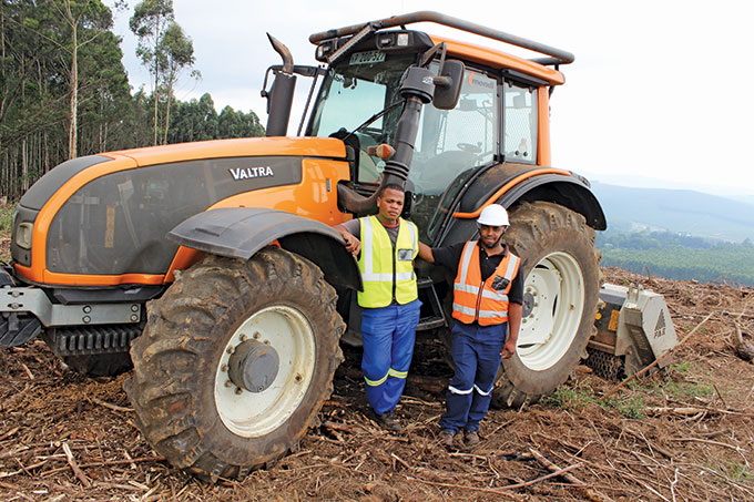 Clearing the ground for mechanised planting operation - SA
